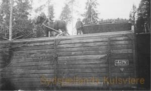 Jernbanevogn ved at blive fyldt med trækul